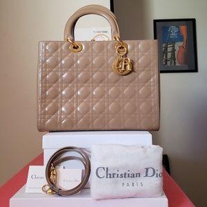 Lady Dior Large Beige Patent Leather gold hw bag
